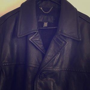 J. Crew men's black leather jacket Size L EUC